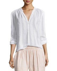 Shirred-Stripe Cotton Popover Top, Optic White