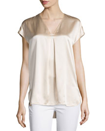 Cap-Sleeve Silk Popover Blouse, Rose Water