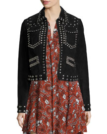Blaine Studded Suede Jacket, Black