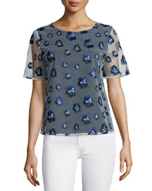 Brylee Embroidered Chiffon Top, Midnight