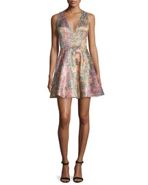 Varita Printed Fit-and-Flare Dress, Multicolor