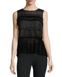 Fae Sleeveless Embellished Blouse, Black