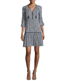 Landon 3/4-Sleeve Printed Silk Dress, Cocoa/Navy