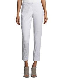 Marcia Slim-Leg Linen-Blend Cropped Pants, White/Gray