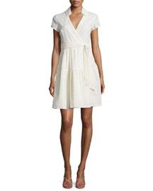 Kayley Two Eyelet Wrap Shirtdress, Ivory