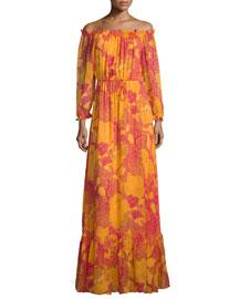 Camila Off-the-Shoulder Flower Power Maxi Dress, Fuchsia