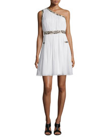 Emilyn One-Shoulder Silk Midi Dress, Ivory