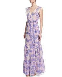 Stephanie Silk Butterfly Maxi Dress, Periwinkle