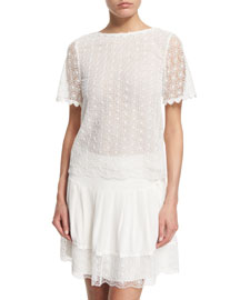 Brylee Scalloped Textured Top, White