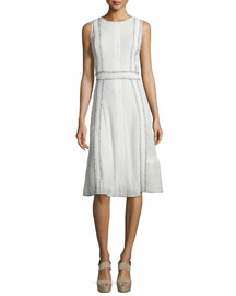 Maelyn Embroidered Pintucked Midi Dress, White