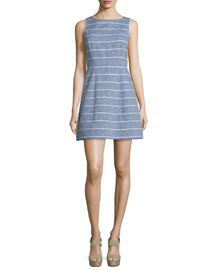 Lindsey Structured Striped Dress, Blue