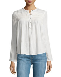 The Retreat Long-Sleeve Henley Top, Dirty White