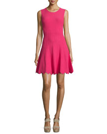 Paulie Sleeveless Scalloped Fit-and-Flare Dress, Pink