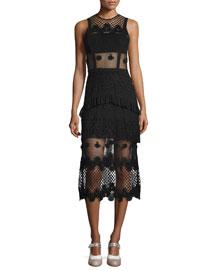Zuzanna Sleeveless Embroidered Midi Dress, Black
