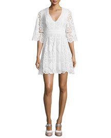 Webb 3/4-Sleeve Lace Mini Dress, White