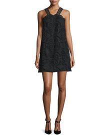 Iva Sleeveless Lace Dress, Black