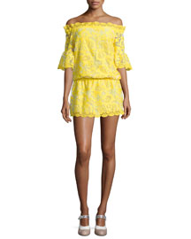 Kit Blouson Off-the-Shoulder Lace Dress, Yellow