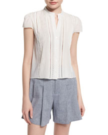 Jaclyn Cap-Sleeve Pintucked Blouse, White