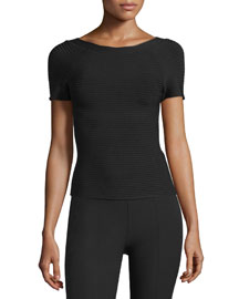 Short-Sleeve Scoop-Back Ponte Tee, Black