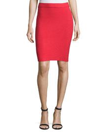 Ribbed Ponte Pencil Skirt, Cherry