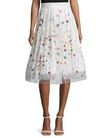Catrina Embroidered Tulle Skirt, Cream