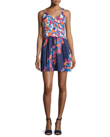 Lydia Printed Twill & Silk Dress, Indigo/Tangerine