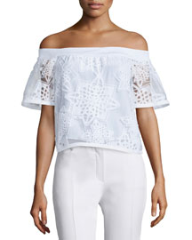 Off-the-Shoulder Geometric Burnout Top, White