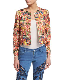 Kidman Embroidered Boxy Jacket, Multicolor
