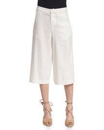 Marlena Low-Rise Linen-Blend Gaucho Pants, Cream