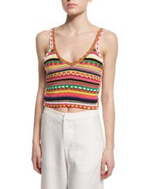 Sandrine Crochet V-Neck Top, Multicolor