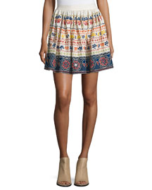 Tania Embroidered Multipattern Mini Skirt, Multicolor
