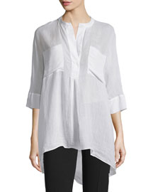 Heather 3/4-Sleeve Cotton Blouse, White