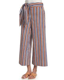 Tilda Striped Pants, Terracotta