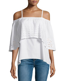 Ione Luxe Poplin Cold-Shoulder Eyelet Top, White