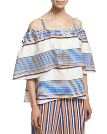 Ione Textured Boxy Cold-Shoulder Top, Ivory/Cobalt