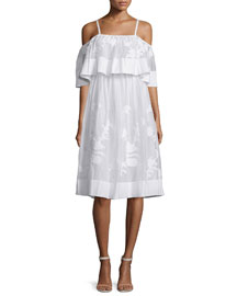 Desiree Floating Flowers Cold-Shoulder Dress, White