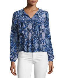 Long-Sleeve Silk Dreamweaver Top, Indigo