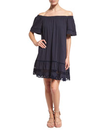 Off-the-Shoulder Cotton Lace-Trim Shift Dress, Navy