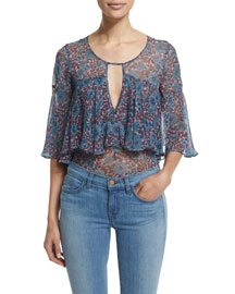 Lindsay Short-Sleeve Floral Silk Top, Coral/Gray