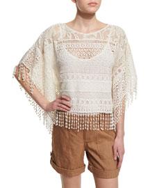 Danette Cotton Crochet Top, Cream