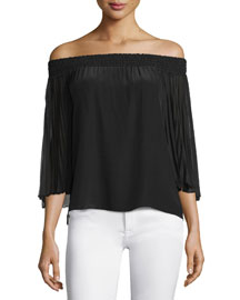 Elina Off-the-Shoulder Silk Top, Black