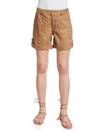 Zahra Linen-Blend Cargo Shorts, Tan