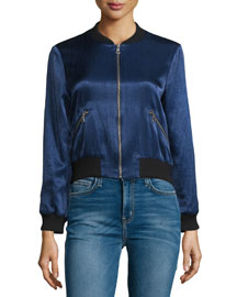 Lonnie Zip-Front Satin Bomber Jacket, Navy