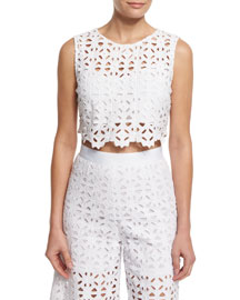 Ruby Crocheted-Lace Crop Top