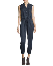 Frances Button-Front Cropped Jumpsuit, Navy