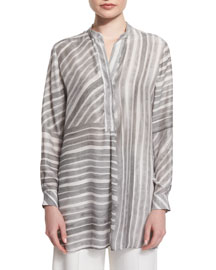 Dara Long-Sleeve Striped Blouse, Gray