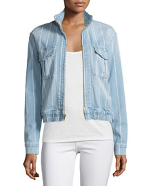 Le Citadel Zip-Front Striped-Denim Jacket, Barrington