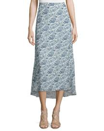 Vivridge Avery Long Floral-Printed Silk Skirt