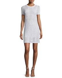 Nenalo Iras Crocheted-Knit Dress, White