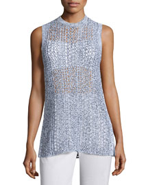Meenaly E Iras Crocheted-Knit Sleeveless Sweater